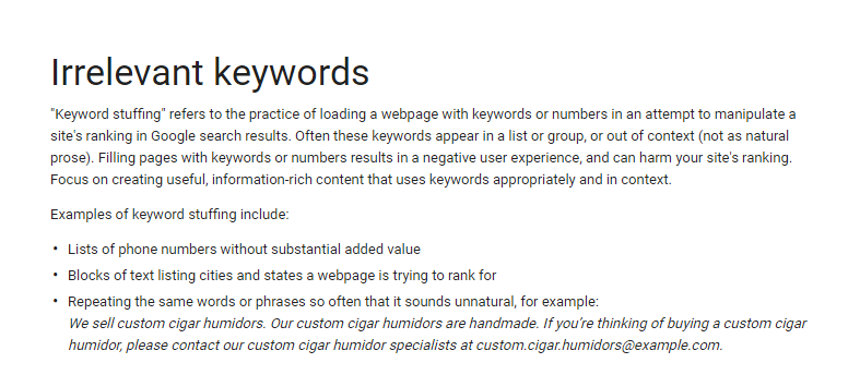 irrelevant keywords